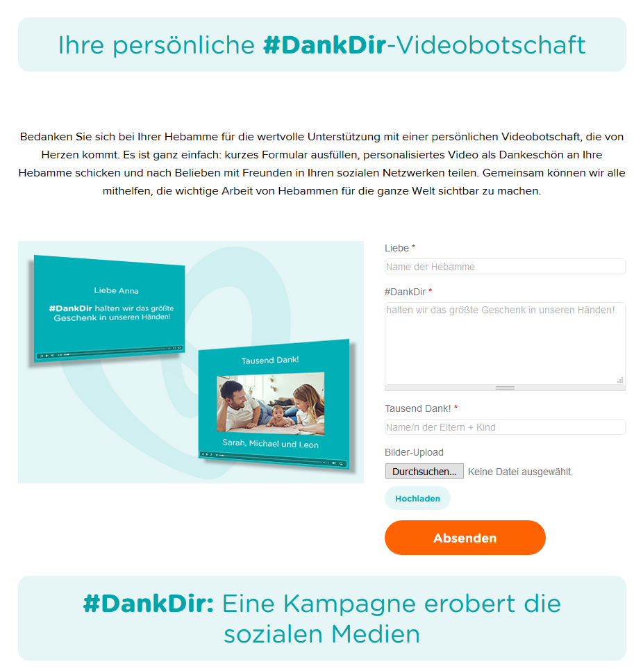 Pampers ehrt den Beruf der Hebamme mit der Aktion #DankDir.